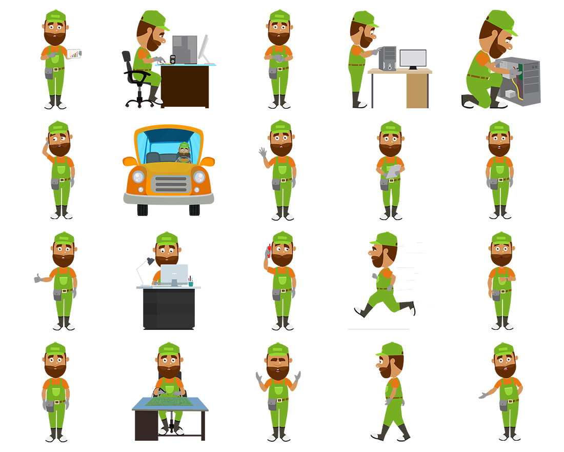 Jeff - Computer Repair - Color2 - 20 poses - OTO2